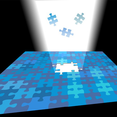 Find a brilliant solution shining through a puzzle problem as pieces fall in bright light.