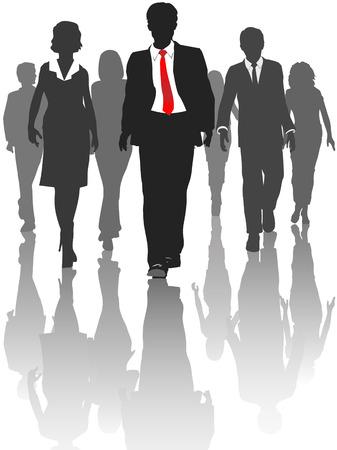 Business silhouet mensen lopen vooruit naar vooruitgang.  Vector Illustratie