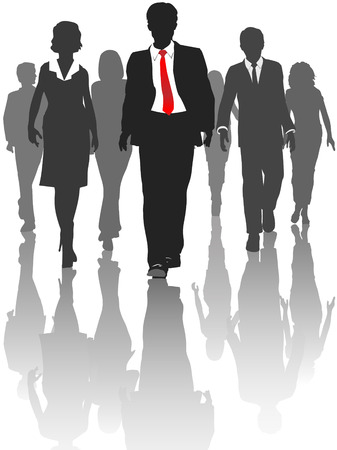 Business silhouette people walk forward toward progress. Çizim