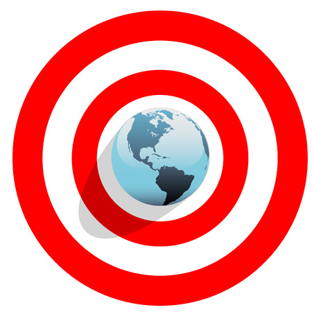 Blue Earth at the center of a bulls eye on a red world target. Vector