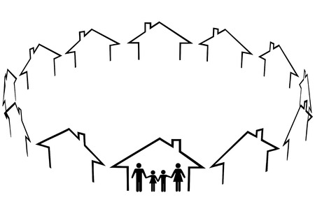 comunidades: Una familia encuentre a un hogar una nueva comunidad en c�rculo de casas de vecinos.