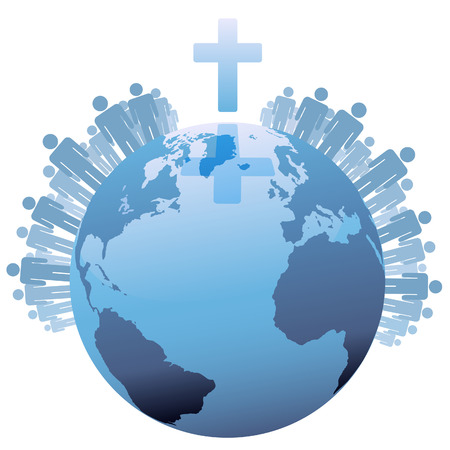 christian cross: All people of the world or the  Global Christian Population of Earth under a Cross.