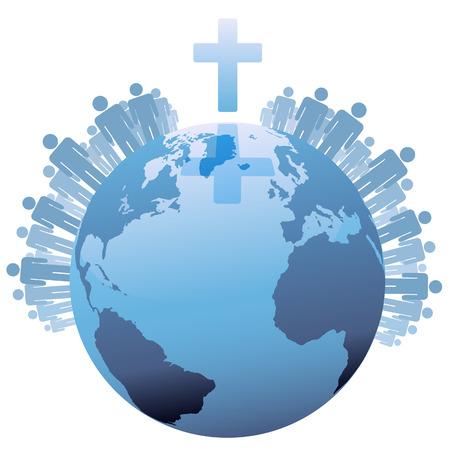 Alle mensen van de wereld of het Global christelijke bevolking van de aarde onder een kruis.