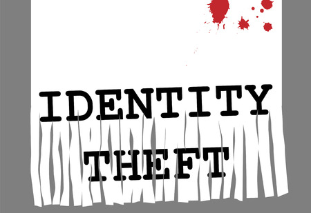 Shred Identity Theft and computer fraud in security paper shredder.