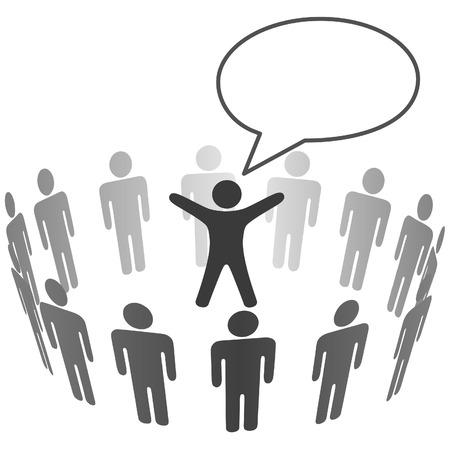 �couter: Groupe de spectateurs People �coute haut-parleur annoncer dans la bulle. Illustration