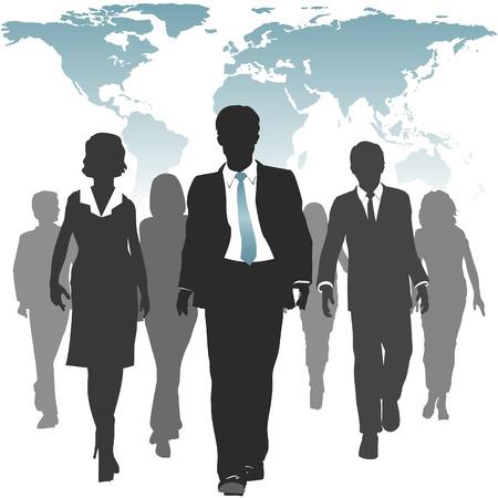 ビジネスの方々 の国際労働力歩く世界地図の下に前方。