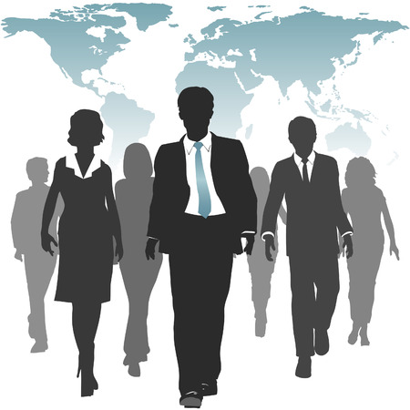 leaders: International work force of business people walks forward under a world map.