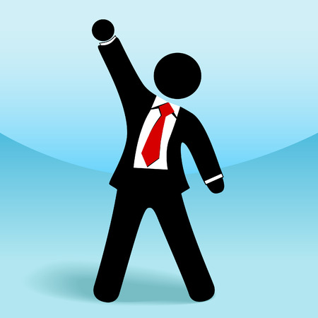 A business man stick figure raises his arm fist up in getsure of success. Ilustração