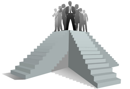 atop: Many paths to success as a business team leader stands atop stairs.