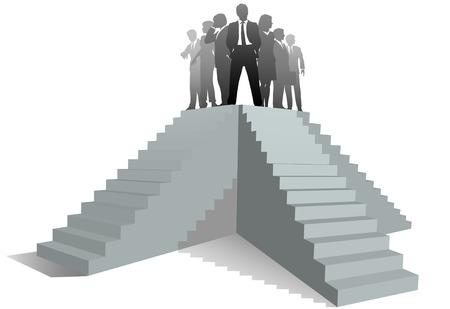 teamleider: Vele paden naar succes als een business team leader staat bovenop trappen.