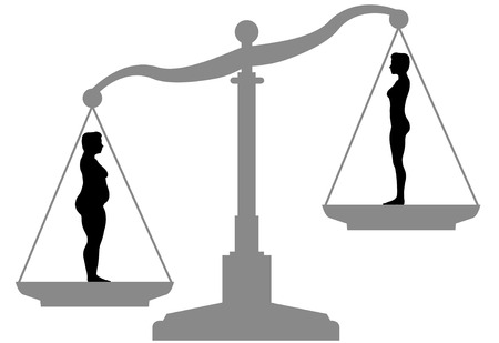 dieting: Woman silhouettes on a scale are symbol of Diet Weight Loss Success.