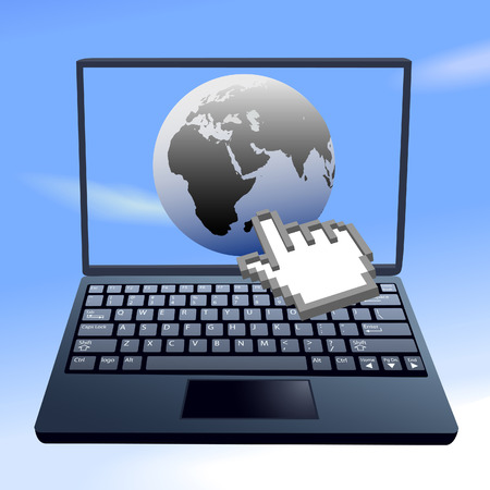 Hand cursor clicks on the internet world on a laptop computer in the sky. Stock Vector - 7098580