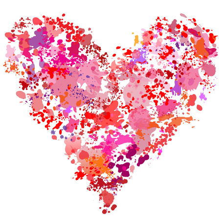 A heart shape paint spatter splatter effect painting abstract.