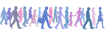 A population of people of many colors walk forward together. Vector