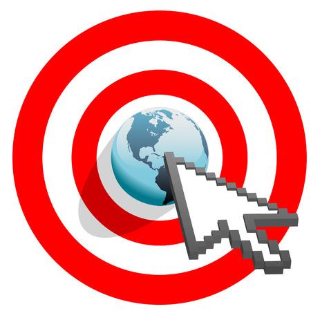 Internet cursor arrow clicks on search engine marketing SEM world in target bulls eye. Vector