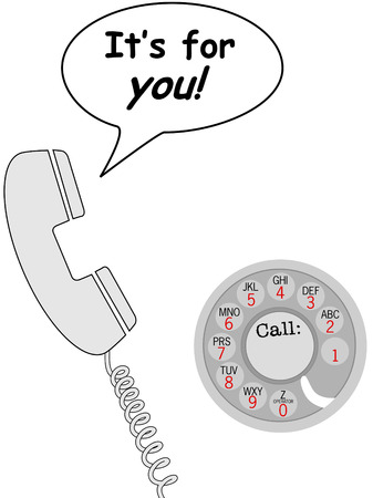 Its for you, so talk on retro dial phone in communication speech bubble. Illustration