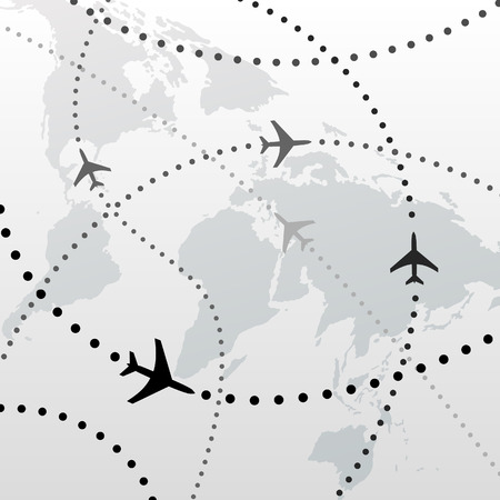 flights: World map of airline airplane flight travel plans. Illustration