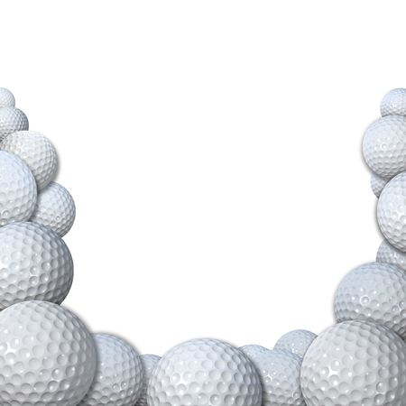 Many 3D render golfballs form a golfball border background space for your golfing copy.