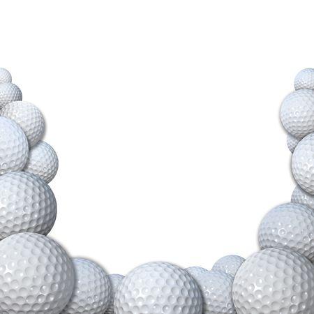 Molti 3D rendering golfballs forma un confine golfball sfondo lo spazio per la vostra copia di golf.  Archivio Fotografico