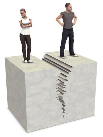 A man and woman 3D couple split on sides of divorce or separation crack.