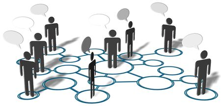 Symbol people talk in network of social media connection nodes. Stock Photo - 7098585
