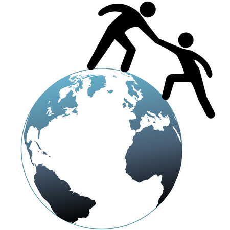 A person reaches out a helping hand to help a friend up on top of the world.