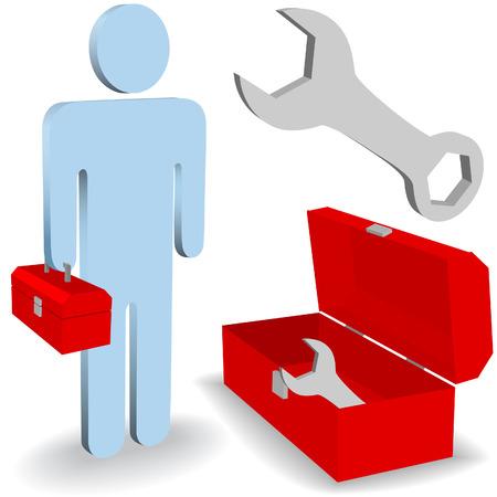 helpers: Un hombre de trabajo de reparaci�n arreglarlo conjunto de s�mbolo de icono de cuadro de herramientas de persona.  Vectores