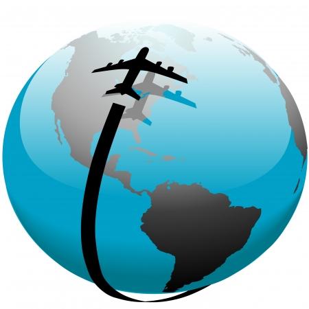 Jet vliegtuig vlucht reizen over zijn schaduw op aarde.