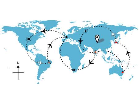 Mapa del mundo de vuelo del avión de aerolínea planes de viaje.