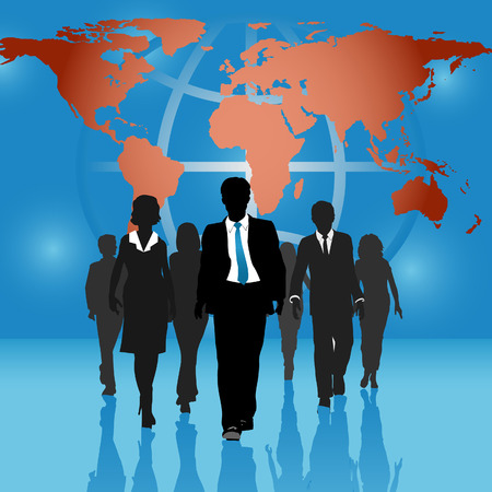 Team of international business people go forward on world map globe background. Vector