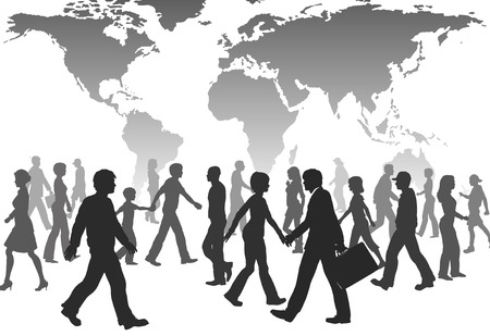 passerby: A population of global people silhouettes walk under world map.