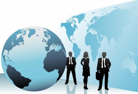 国際ビジネス人々 のグループは世界地図世界背景にグローバル行きます。  イラスト・ベクター素材