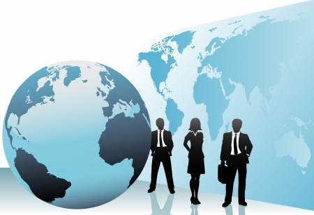 Group of international business people go global on world map globe background.