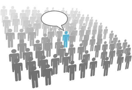 talking: One individual person talk in crowd social network group or company. Illustration