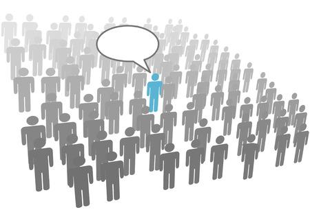 Una persona individual hablar en grupo de la red social de muchedumbre o de la empresa.  Ilustración de vector