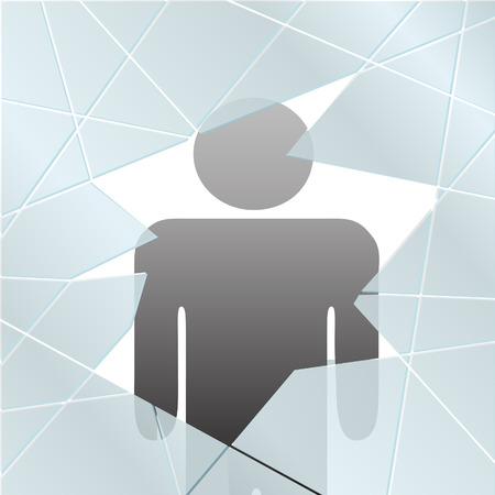 A symbol person is safe injured or at risk behind broken glass.
