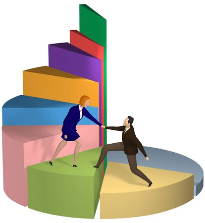 A business woman gives a helping hand to a businessman up chart steps to success. Standard-Bild