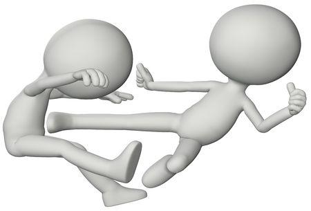 martial arts: 3D symbol people kick in a martial arts fight.