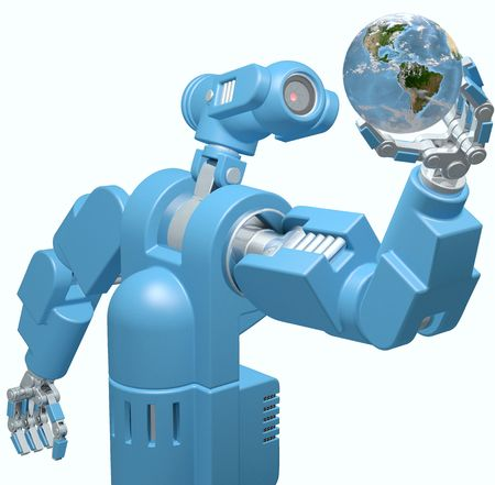 Alien science camera eye robot evaluates searches Earth in its hand isolated on white. Stock Photo - 7462231