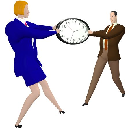 time over: Business woman and businessman Stretch time clock or fight over time.