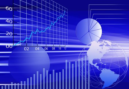 Abstract background of dynamic, business world financial data concepts in blue. photo