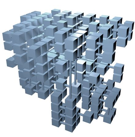 A 3D database structure of data cubes boxes form network connections.