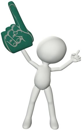 white fan: A 3D fan symbol person holds up Number One foam finger and hand gesture. Stock Photo