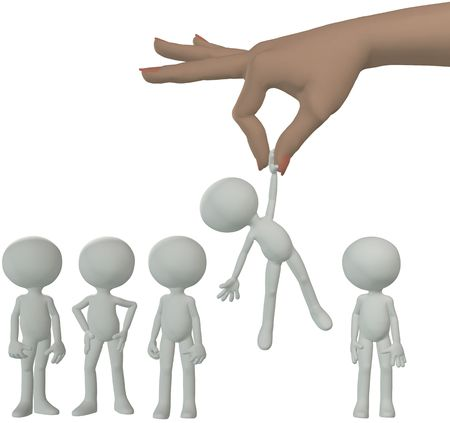 chosen: A female hand to find and choose a 3D person to dangle above a line of cartoon people. Stock Photo