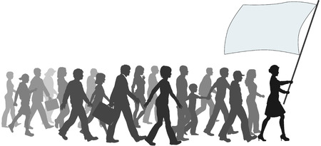 A crowd of people follow a leader carrying sign banner copyspace. Vector