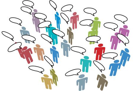 社会的なメディア ネットワーク会議人々 コミュニケーション スピーチの泡で話し合う  イラスト・ベクター素材