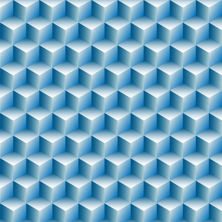 Cubes boxes rows in a blue optical illusion background abstract. Ilustrace