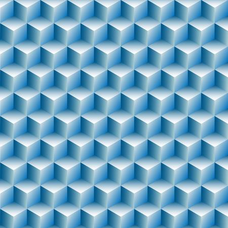 Kubussen vakken rijen in een achtergrond abstract blue optische illusie. Stock Illustratie