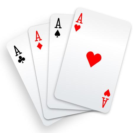 Una mano di poker vincente di carte da gioco quattro assi adatta su bianco.