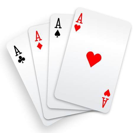 card game: A winning poker hand of four aces playing cards suits on white.